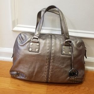 Michael Kors Gunmetal metallic Astor Satchel